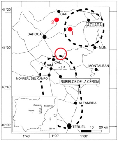 location map Azuara Rubielos de la Cérida impact structures Spain