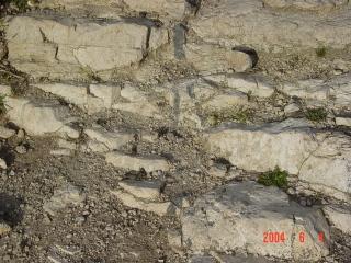 Azuara impact structure carbonate-psilomelane melt dike outcrop