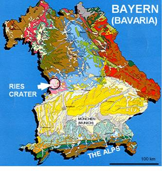 geological general map of Bavaria location of the Ries crater