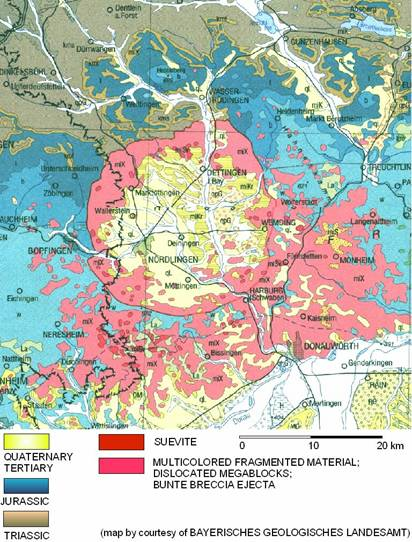 geological general map of the Ries crater impact structure Nördlinger Ries