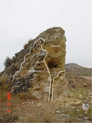 Azuara impact structure Jaulín impact breccia contact Jurassic limestone detail