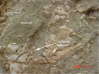 Azuara impact structure Jaulín impact breccia contact Jurassic limestone close-up