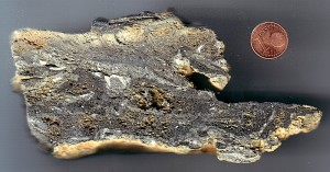 dark koefelsite glass, possible impactite from Köfels, Austria