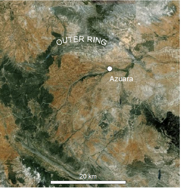 azuara impact structure google earth image, outer ring