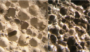 close-up of pumice melt rock samples, Chiemgau impact, Germany