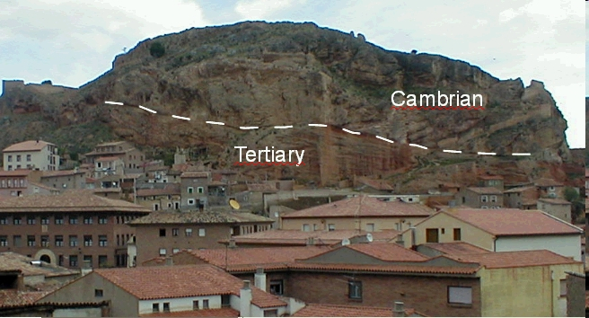 Daroca thrust of Cambrian over Tertiary, ejected megablock, Azuara impact structure, Spain