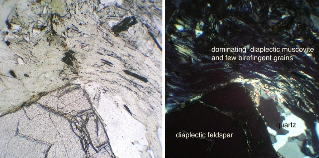 diaplectic glass from mica and feldspar in quartzite Chiemgau impact