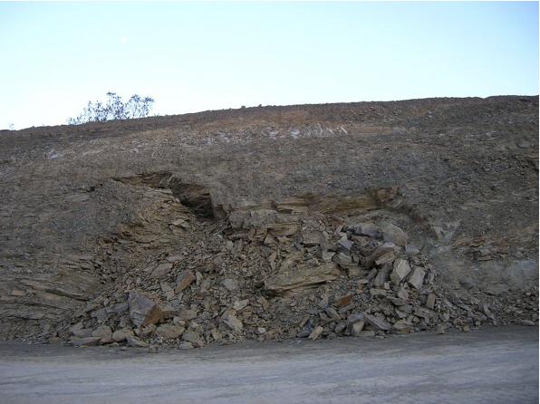 autovía Mudéjar geological outcrop, landslide, Azuara impact structure