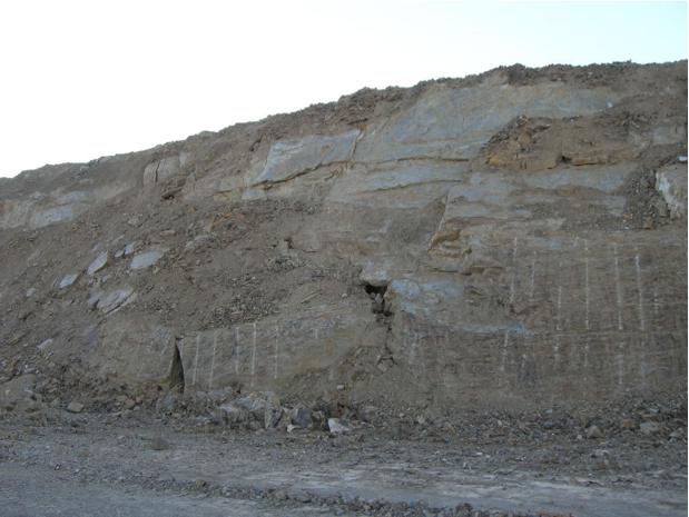 autovía Mudéjar geological outcrop, landslide 11, Azuara impact structure