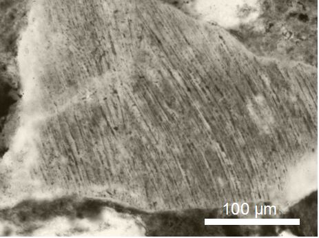 photomicrograph bent planar deformation features PDFs Popigai impact structure