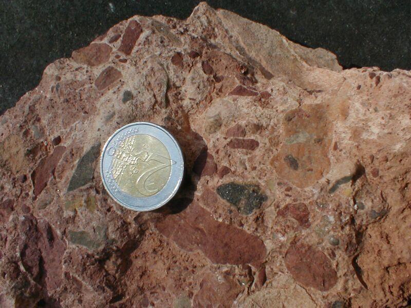impact breccia generations, polymictic breccia clast in polymictic breccia, near El Pobo, Rubielos de la Cérida impact basin rim