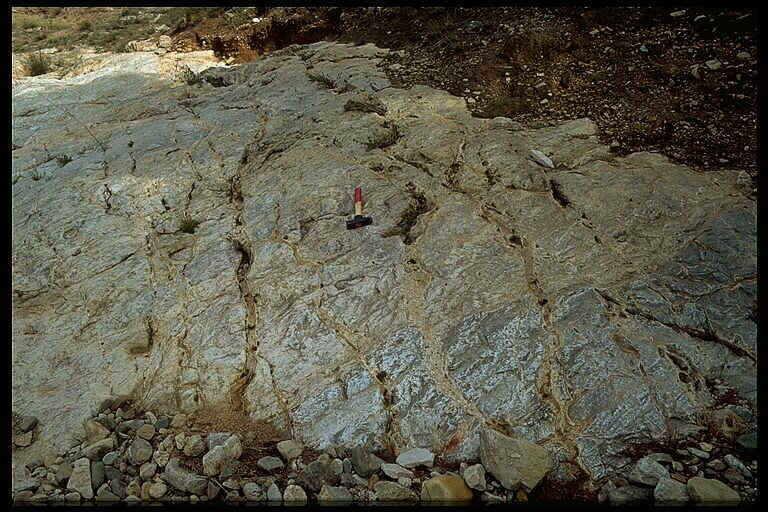 prominent breccia dike system in Jurassic limestones, Barranco de Bocafoz, Azuara impact structure