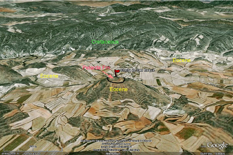 Google Earth, Azuara impact, Pelarda formation, deposit at Ermita de San Roque