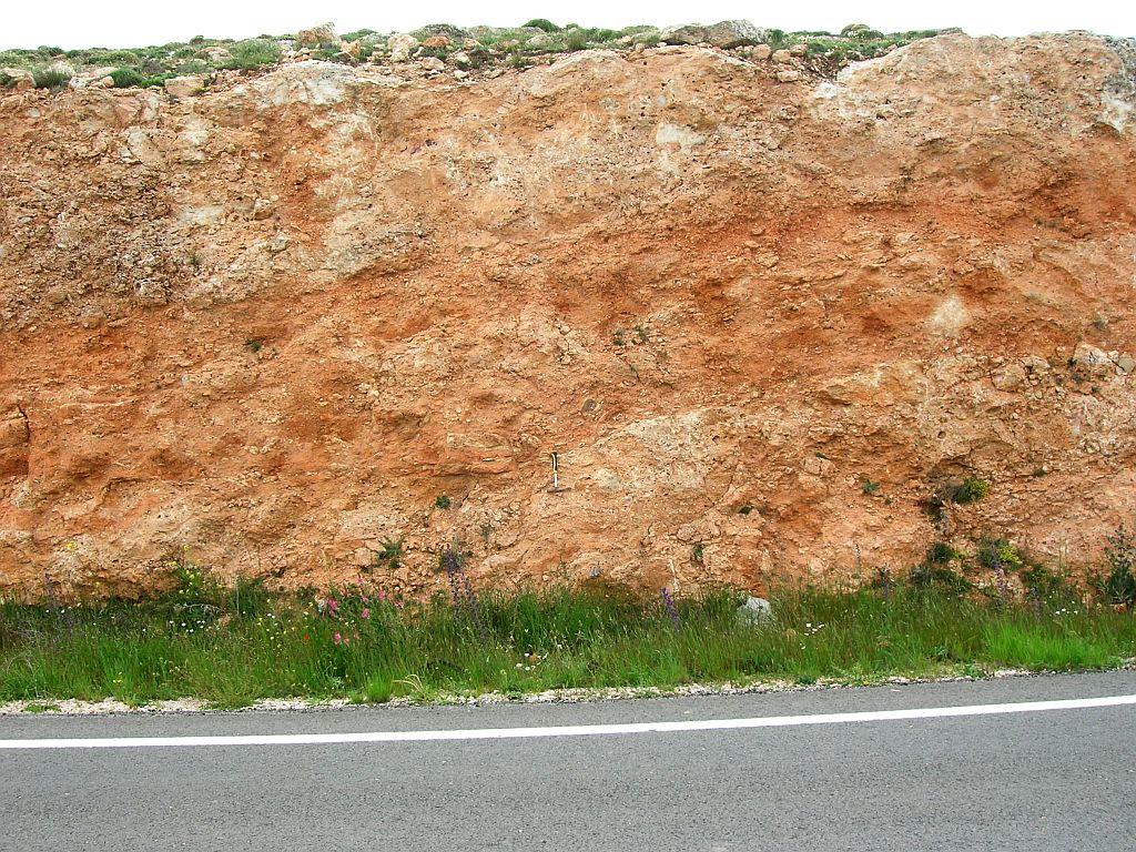 suevite deposit (basal breccia) near Fuentes Calientes, Rubielos de la Cérida impact basin