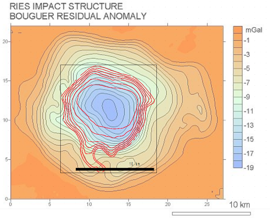 plot of isoohm map over gravity residual anomaly, Ries impact crater