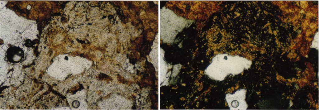 photomicrograph  shock melt glass breccia Azuara impact structure