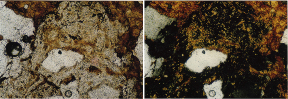 photomicrograph of impact melt glass, in part recrystallized, strongly shocked polymictic breccia, Azuara impact structure