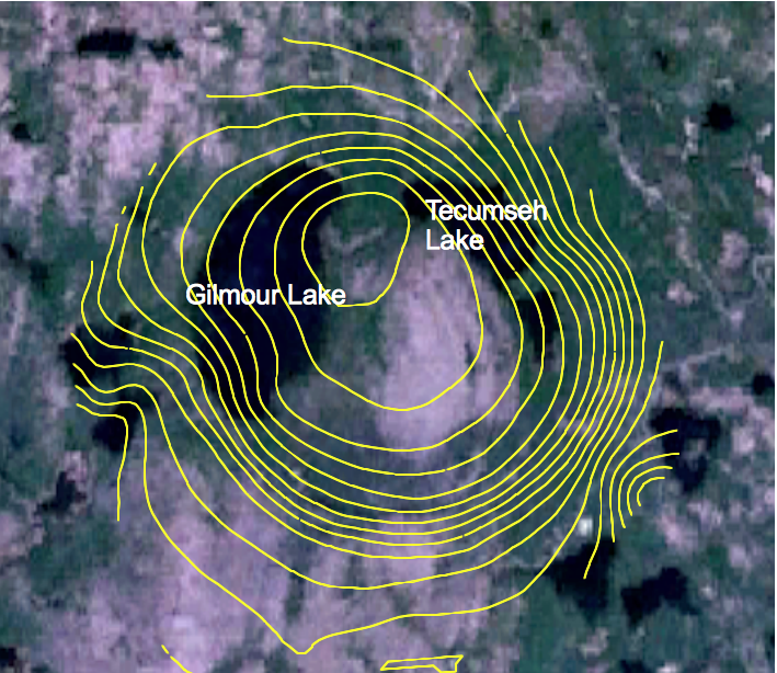 gravity contours over satellite imagery, brent impact crater, Canada