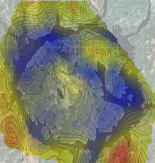 gravity contours over Google Earth imagery, Manicouagan impact structure
