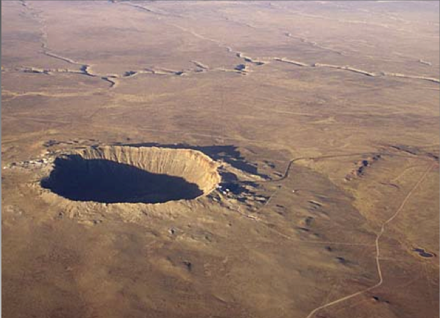 the Barringer meteorite impact crater in Arizona