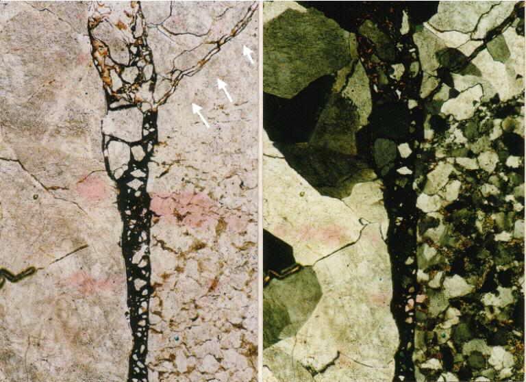 photomicrograph breccia dikes crossing quartz grains, Azuara impact structure