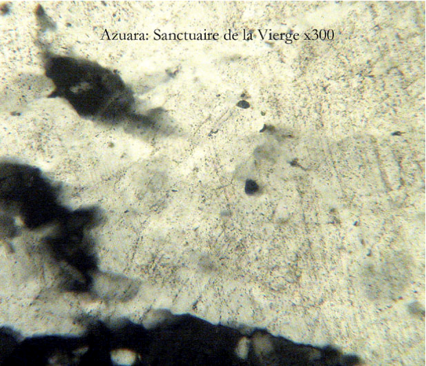 photomicrograph of planar deformation features, quartz, Weissler, Azuara shock