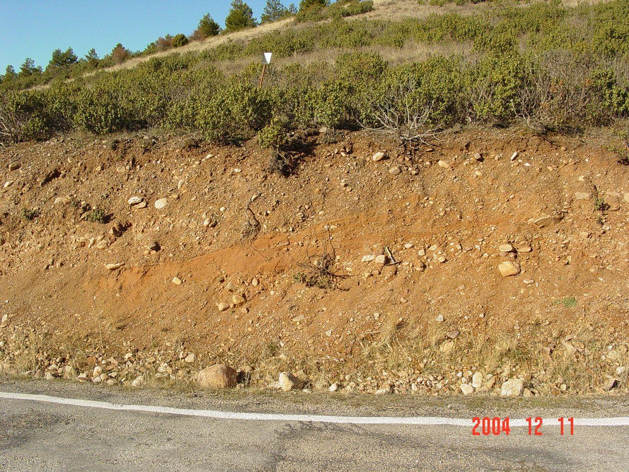 outcropping diamictic impact ejecta, Pelarda Fm., Azuara impact structure