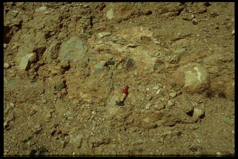 detail diamictic impact ejecta, Puerto Mínguez, Rubielos impact