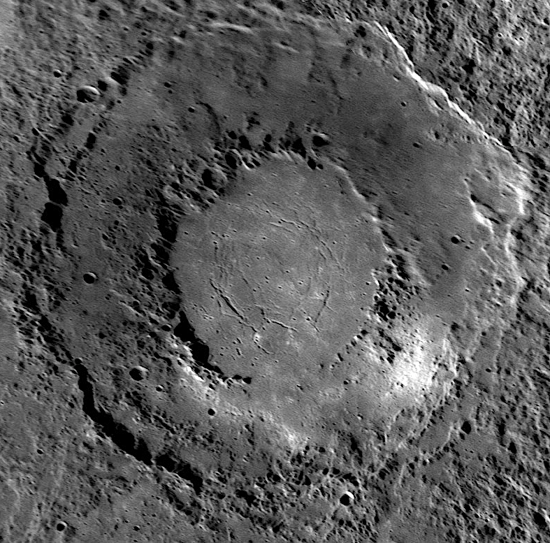peak ring crater Rachmaninoff on Mercury