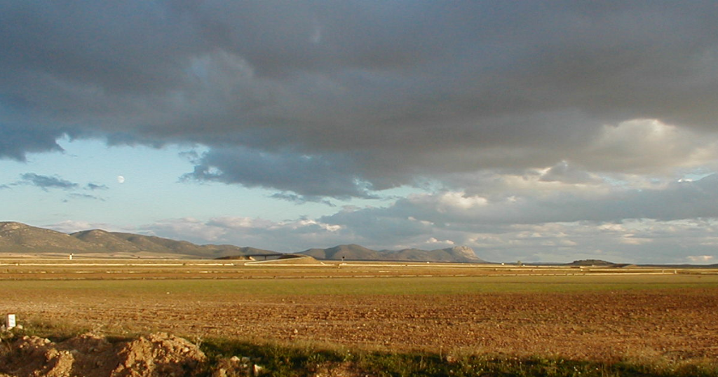 photo of the central uplift chain of the Rubielos de la Cérida impact basin