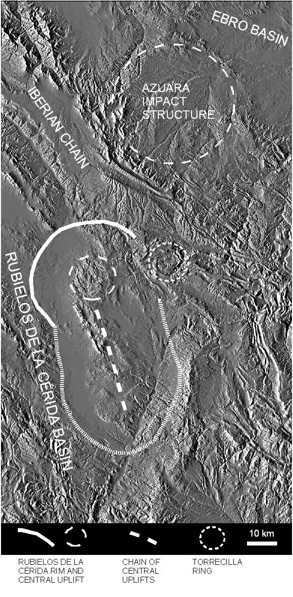 digital topographic map of Azuara impact structure, Rubielos de la Cérida impact basin