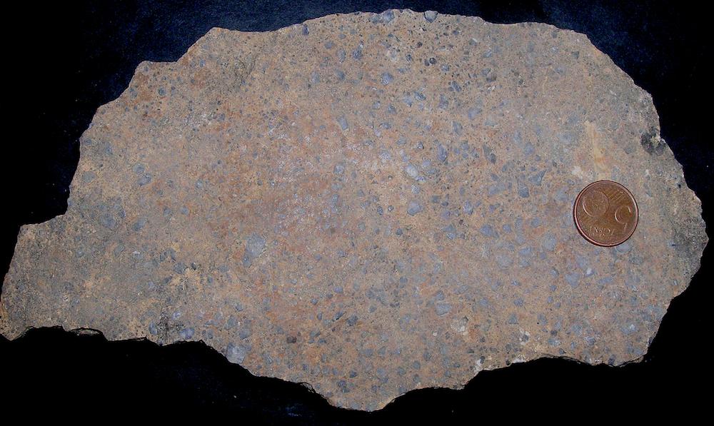 polished surface of monomictic brecciation, Muschelkalk limestone, thrust near Olalla, Rubielos de la Cérida impact
