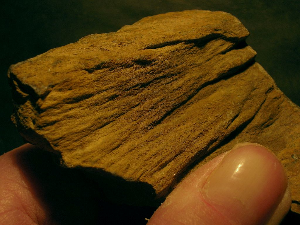 crude shatter coning in arenite, Sudbury impact structure, Canada