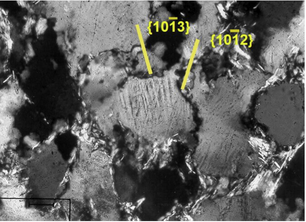 photomicrograph of planar deformation features, (1012) and (1013) in quartz, Azuara shock