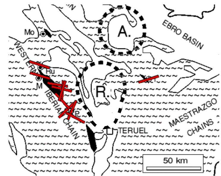 location map for outcrops of subparallel fracturing, quartzite conglomerates