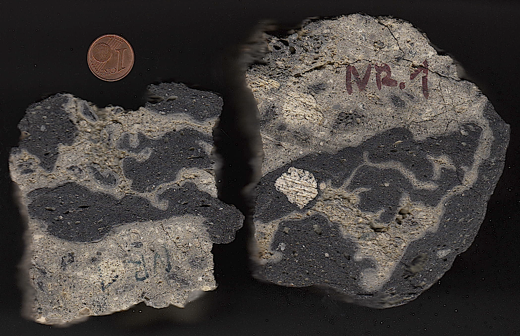 suevite cut showing impact melt rock inclusions
