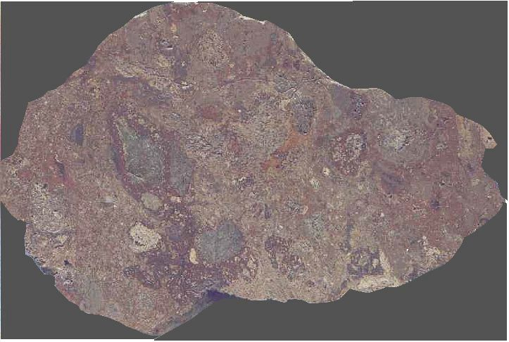 suevite, Wanaptei impact structure, Canada, red variety