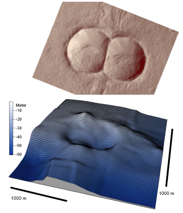 comparison of doublet meteorite craters on Mars and in Lake Chiemsee, Chiemgau impact