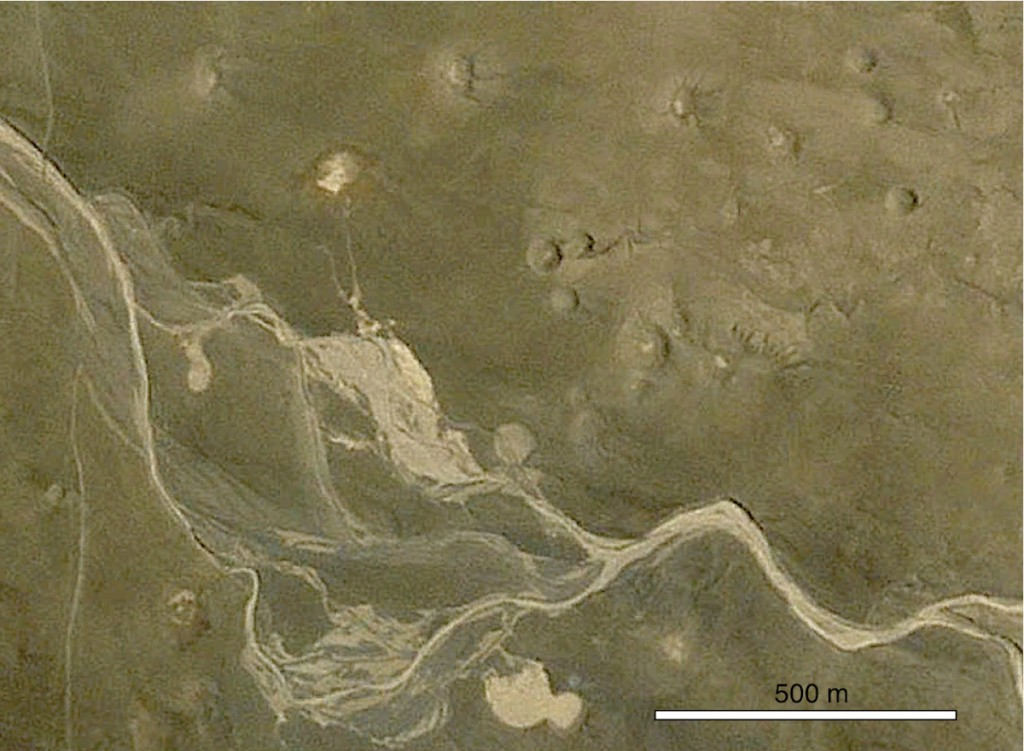 Google Earth imagery of the NNE-1 crater group