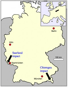 Saarland impact and Chiemgau impact locations on the map of Germany