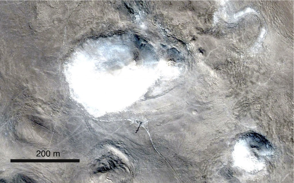 Google Earth imagery of five Quillagua craters