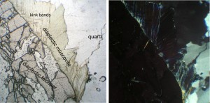 photomicrograph diaplectic mice (muscovite) and feldspar glass Chiemgau impact