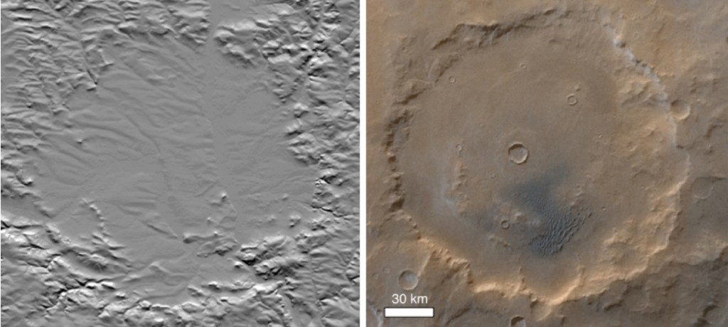 comparison of the Ries impact crater Germany and the Kaiser crater on Mars
