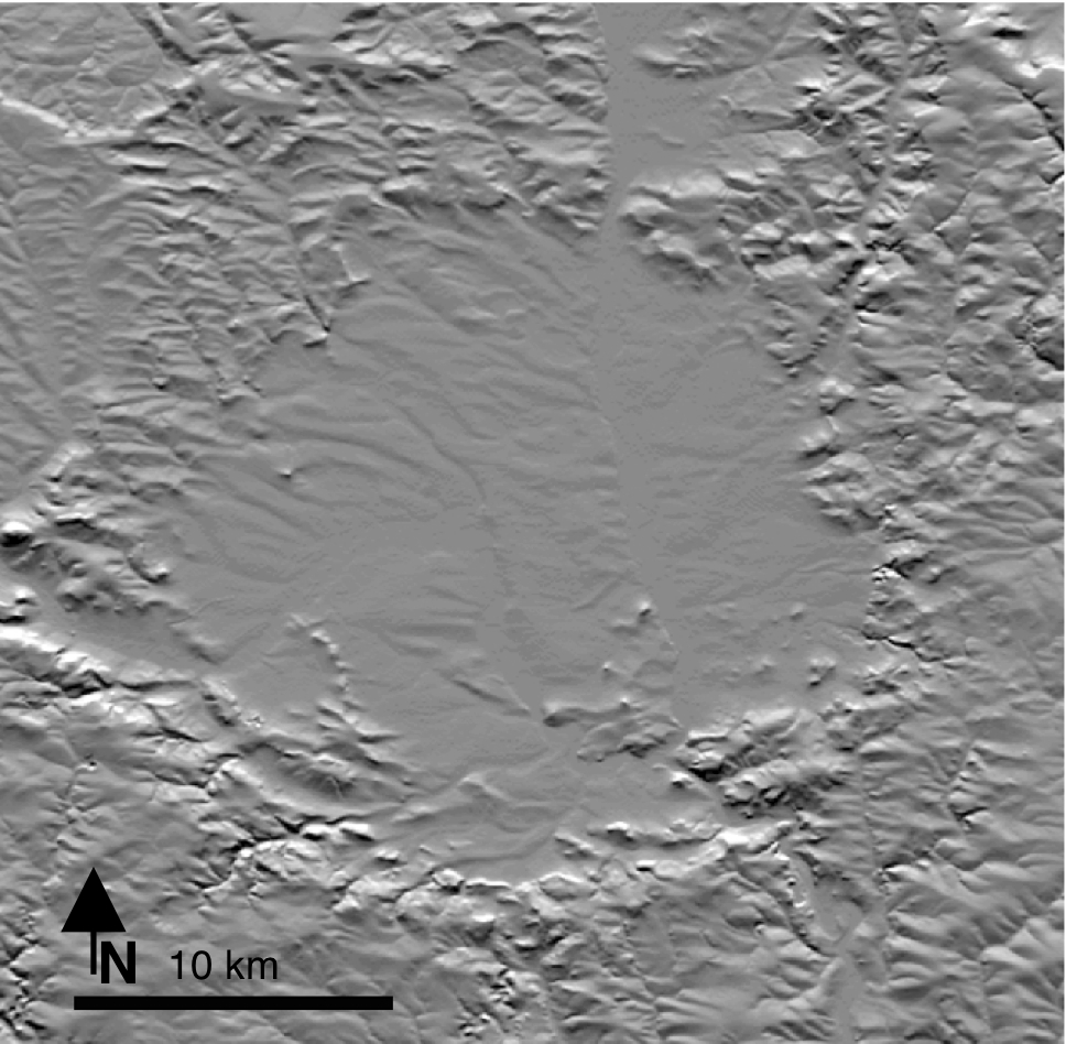 topographic relief of the Ries impact crater