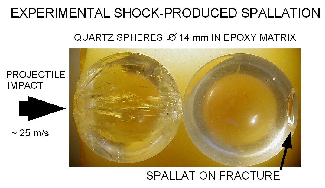 experimental shock spallation quartz