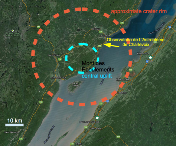 structure d'impact de Charlevoix Canada