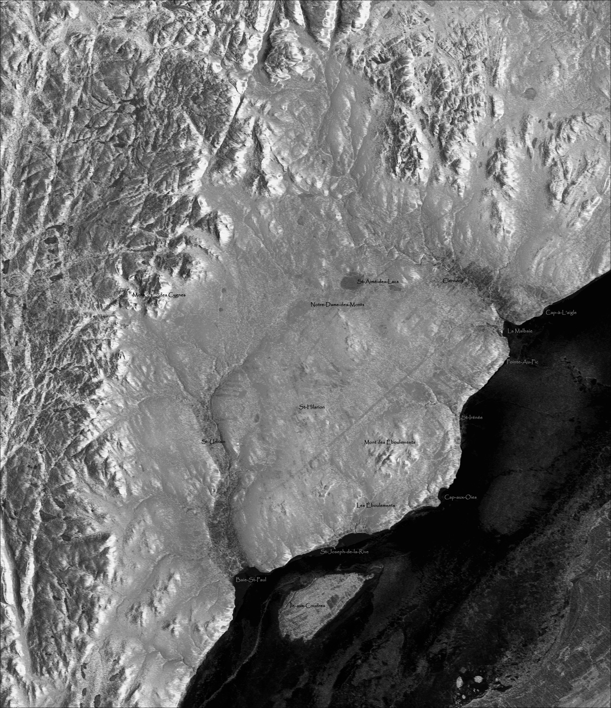 radar image Charlevoix impact structure Canada