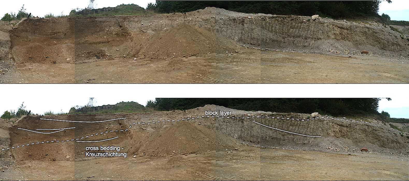 Lake Chiemsee meteorite impact tsunami deposit - cross-bedded diamictite