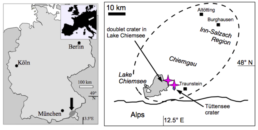 Chiemgau impact location map pink quartz