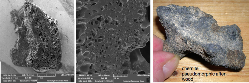 SEM images chiemite and chiemite pseudomorphic after wood
